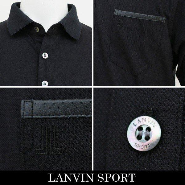 新品 定価2.1万円 ランバン スポール 長袖 ニット ポロ シャツ 黒 L 40 ブラック LANVIN SPORT ジャージー ゴルフウェア 吸水速乾_画像3