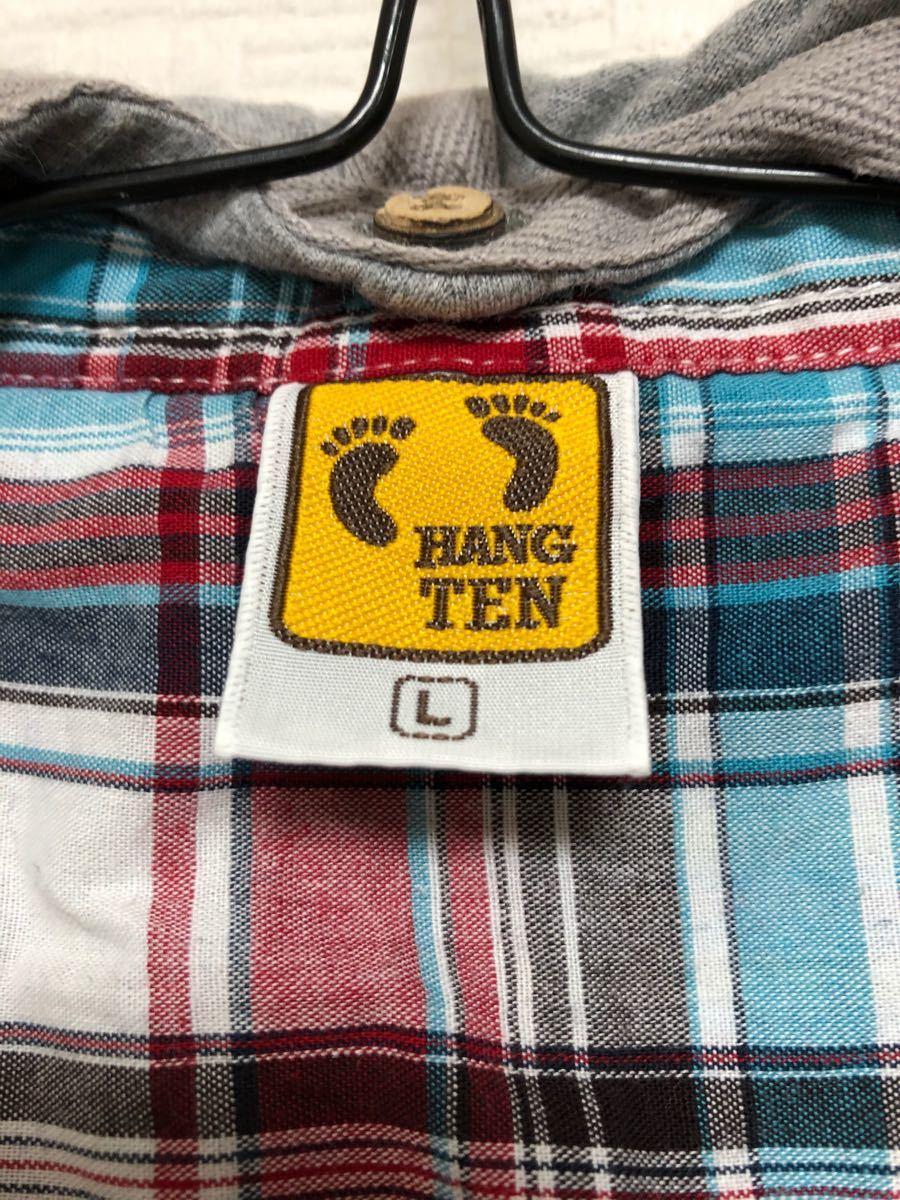 (ハンテン)フード付き チェック柄 半袖シャツ