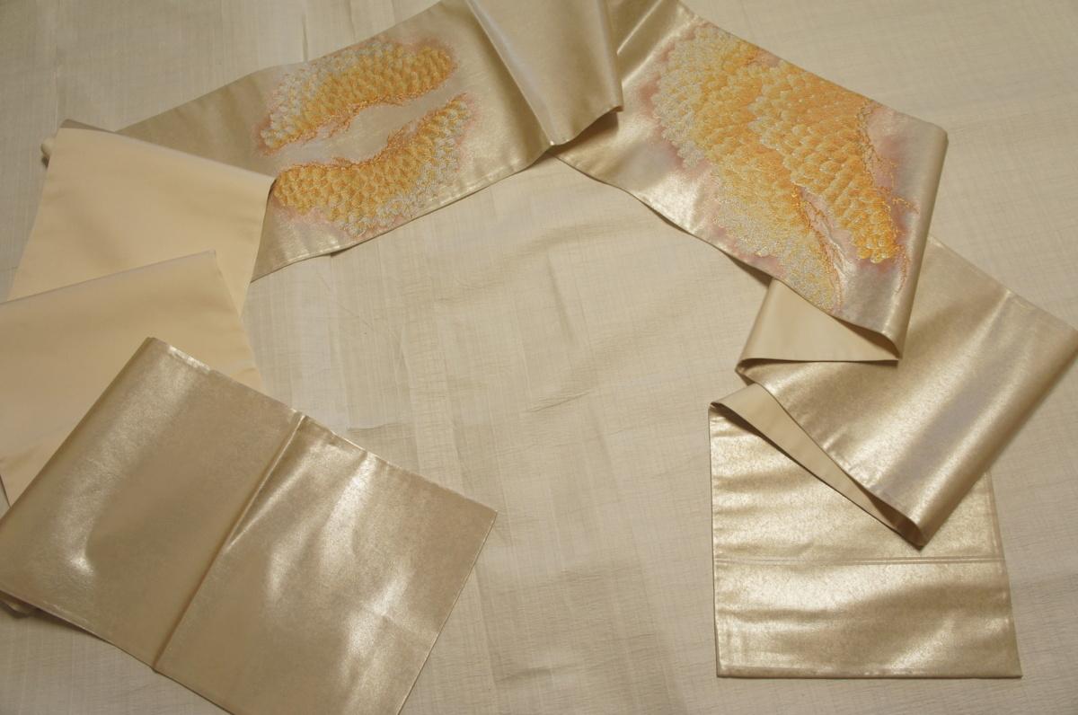 特選『紫紘』手織り銀箔錦地老松模様袋帯[O12206]_特選『紫紘』手織り銀箔錦地老松模様袋帯