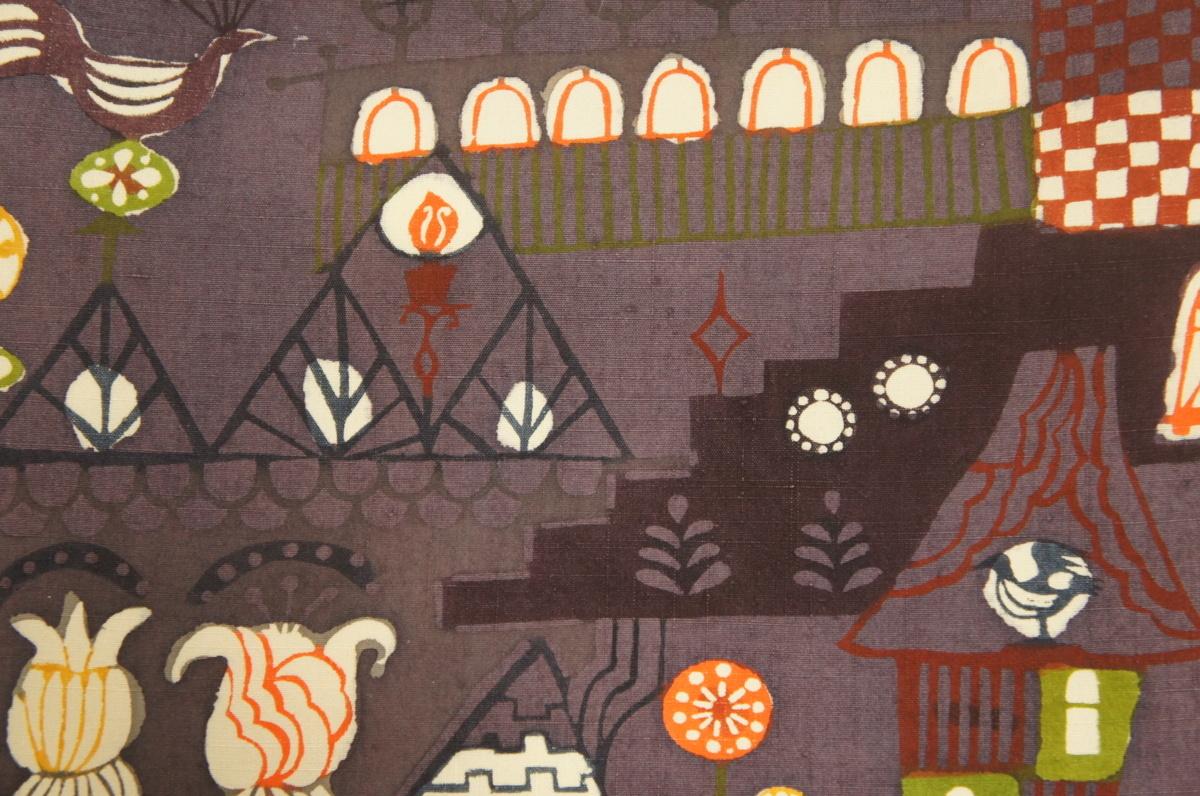 特選新品『関美穂子』作茄子紺色紬地型染名古屋帯N12256_新品『関美穂子』茄子紺色紬地型染名古屋帯