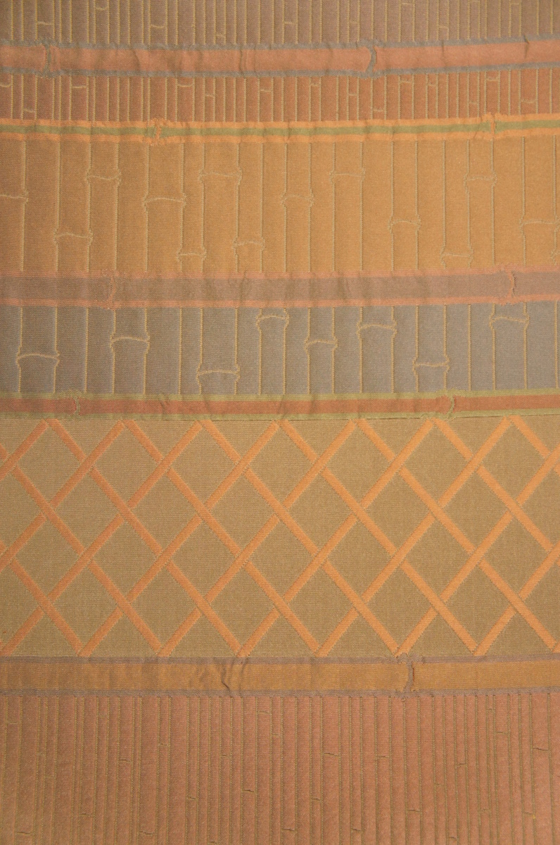 特選『紫紘』茶ねず色ふくれ織横段竹垣模様袋帯[O12258]_特選『紫紘』茶ねず色ふくれ織横段竹垣模様