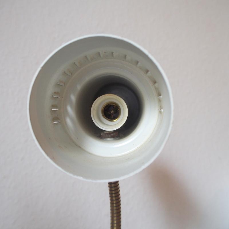フランス ヴィンテージ メタル真鍮製バウハウス 照明 アトリエ 工業系 ランプ ライト デスクランプ シャビー 古道具 小物 家具 店舗什器 白_画像6