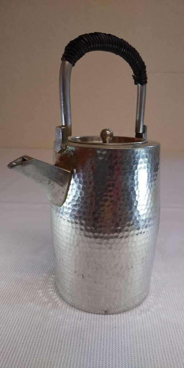 古い 錫製 鎚目 チロリ 酒器 酒燗器 銚子 燗鍋 急須 湯沸 味の素 刻印 高さ約14.5cm 248g 煎茶道具