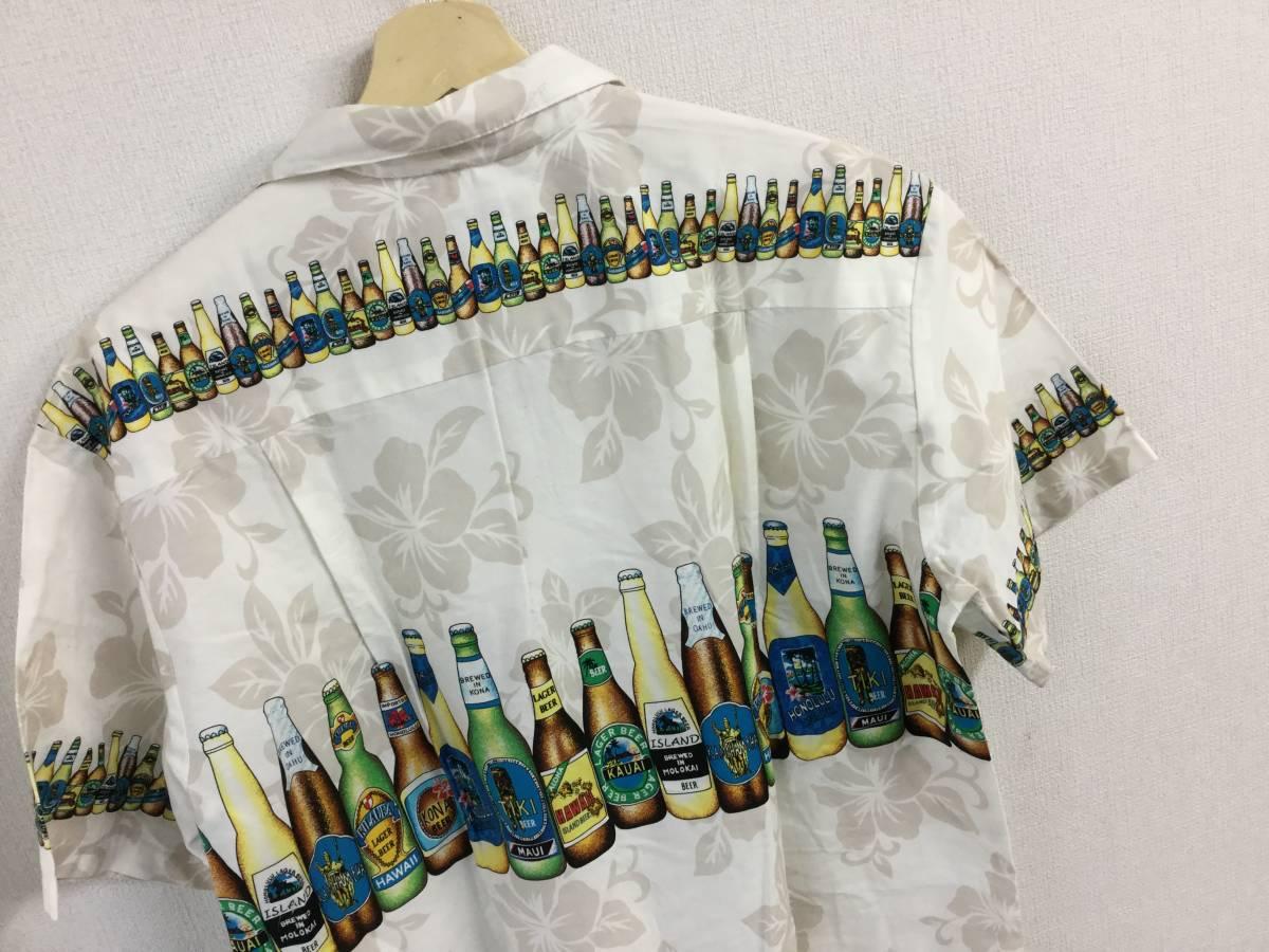 KY'S ビール柄 BEER アロハシャツ Hawaii ハワイ製 Lサイズ