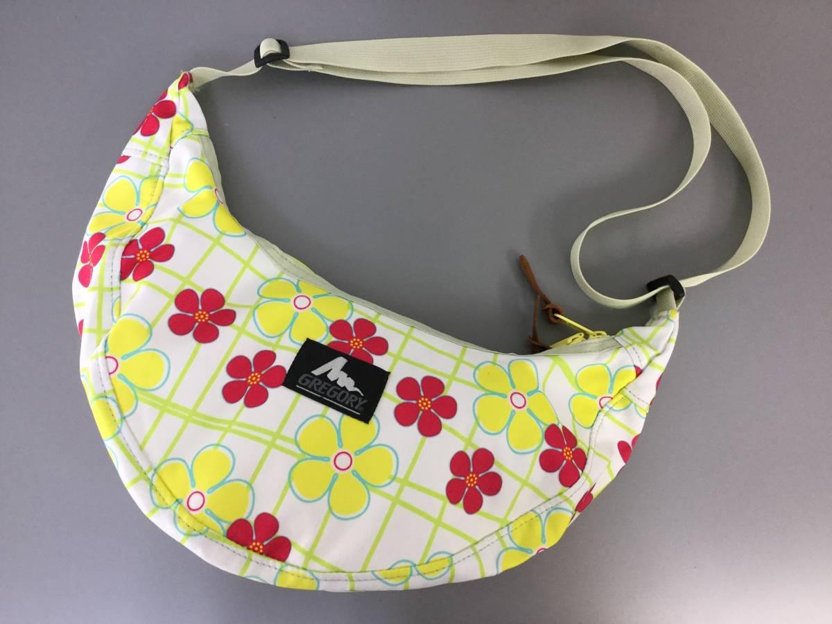 美品 USA製 グレゴリー ラフィンバッグ スプリングフラワー 花柄 gregory アメリカ製 旧タグ 三日月型バッグ ショルダーバッグ