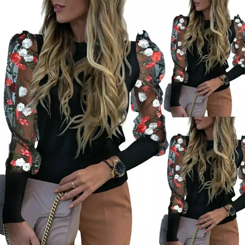 トップス ボリューム袖 シースルー 花柄刺繍