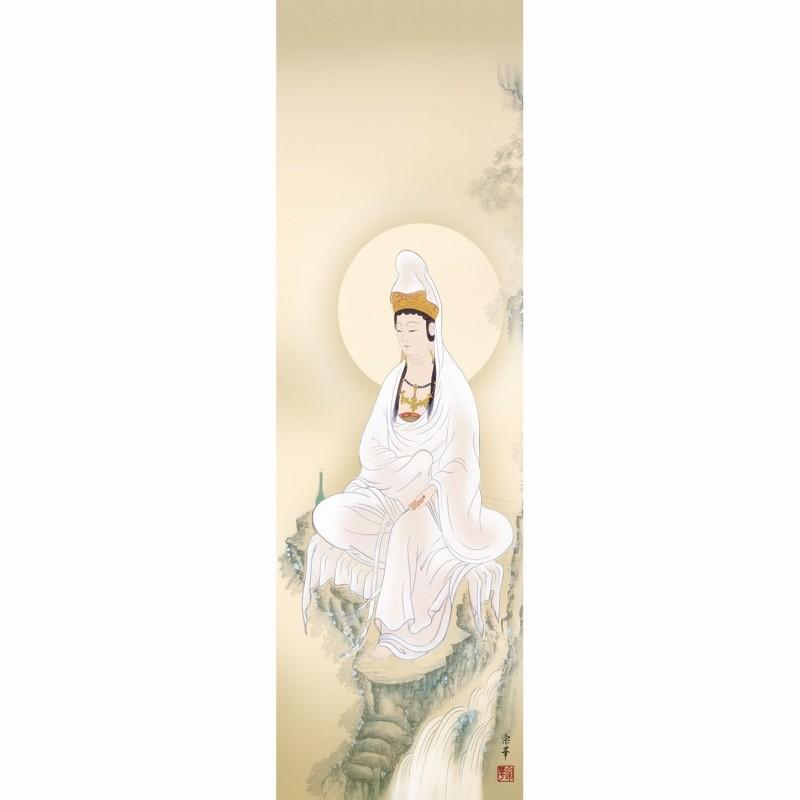★大森宗香『岩上観音(尺三立)』版画+手彩色 掛軸 掛け軸 新品 仏画 仏事 開運 趣味【SAK-KZ2ME1-K120】_作品