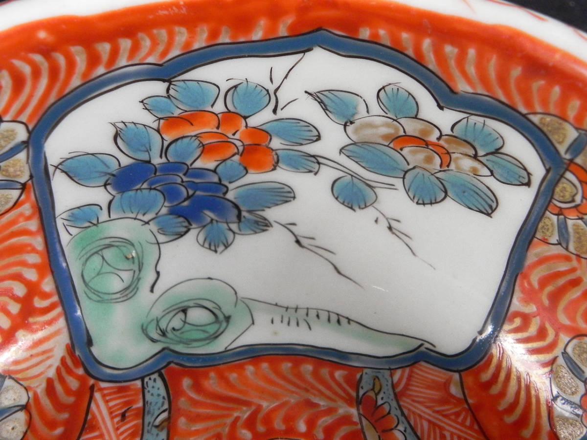 時代物 ◆ 伊万里 色絵中鉢 窓山水図 二重高台 深皿 ◆ 旧家蔵出し ② 管7619_画像6