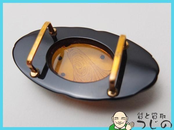 【送料無料】◆美品◆K18◆帯留め 本べっ甲 琥珀 ◆ 【神戸の質屋 つじの】_画像4