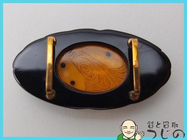 【送料無料】◆美品◆K18◆帯留め 本べっ甲 琥珀 ◆ 【神戸の質屋 つじの】_画像3