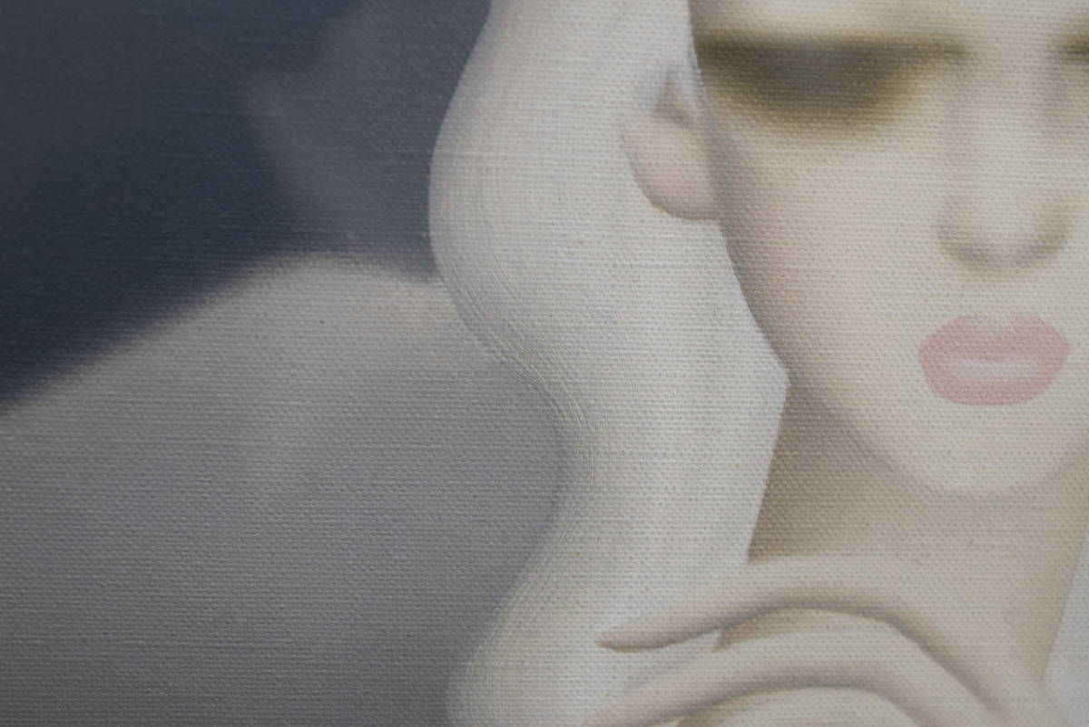 【真作保証】東郷青児「山びこ」油彩4号/文化功労者/芸術院会員/二科会会長/鑑定有/目閉じの女性像_画像6