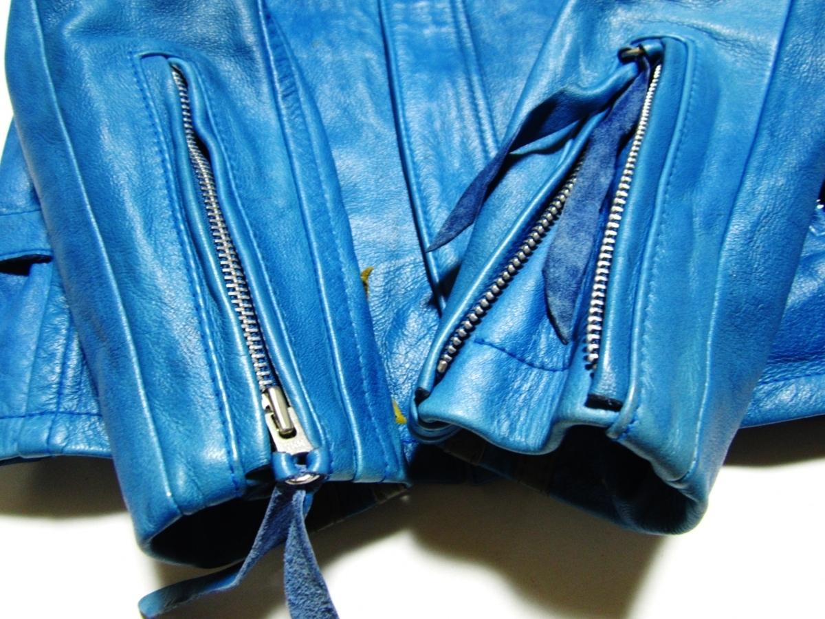 未使用品 Schott ショット クラシックレーサー ジャケット Johnny Special ジョニー スペシャル レザー ライダース XS ブルー 3161001_画像7