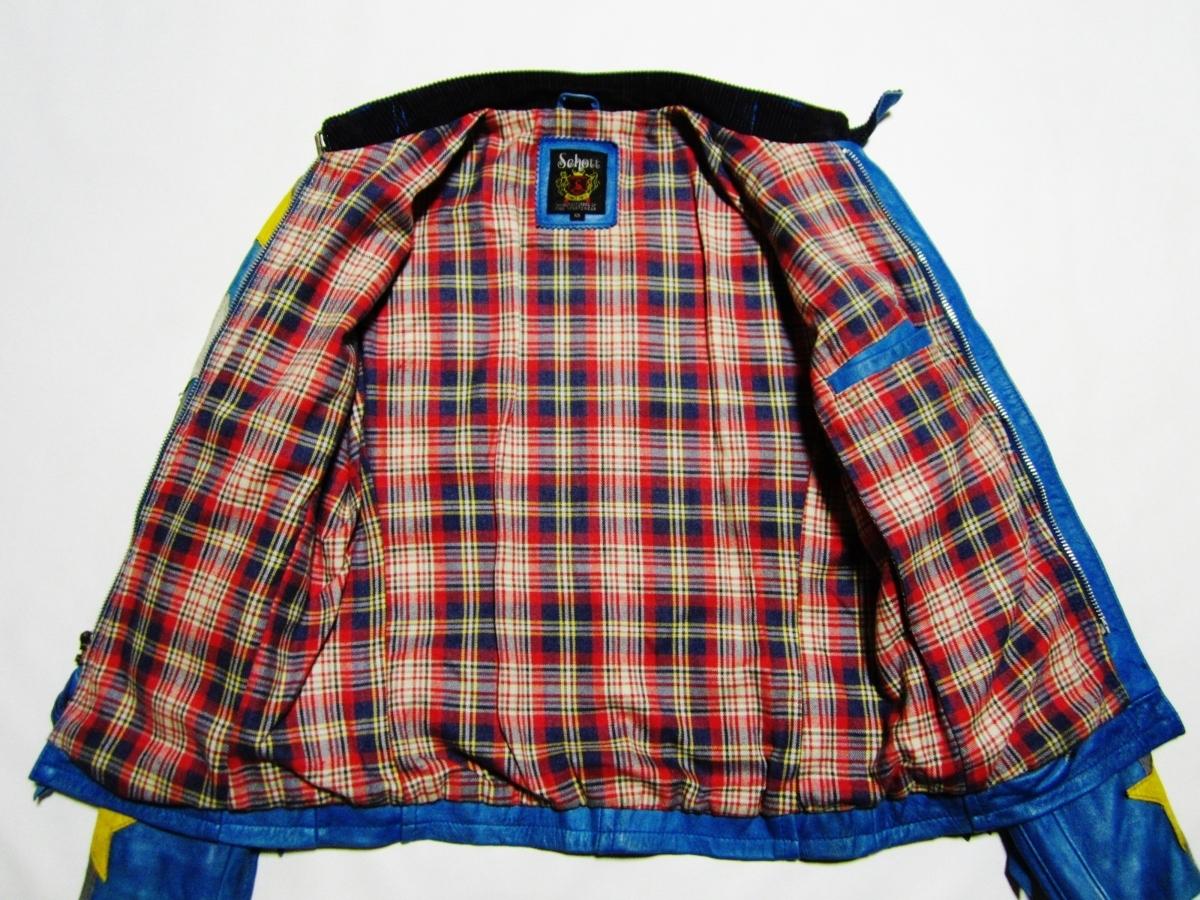 未使用品 Schott ショット クラシックレーサー ジャケット Johnny Special ジョニー スペシャル レザー ライダース XS ブルー 3161001_画像3
