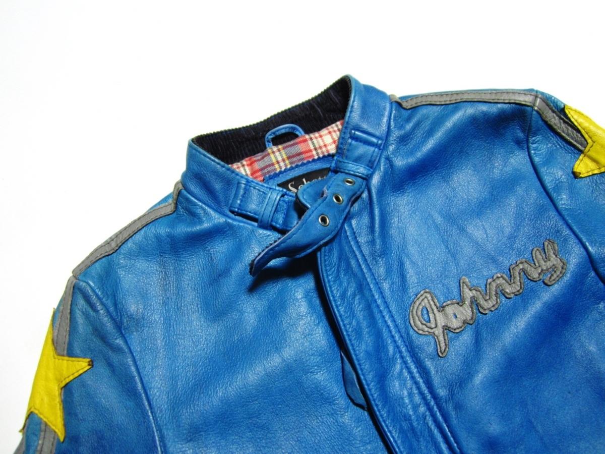 未使用品 Schott ショット クラシックレーサー ジャケット Johnny Special ジョニー スペシャル レザー ライダース XS ブルー 3161001_画像4
