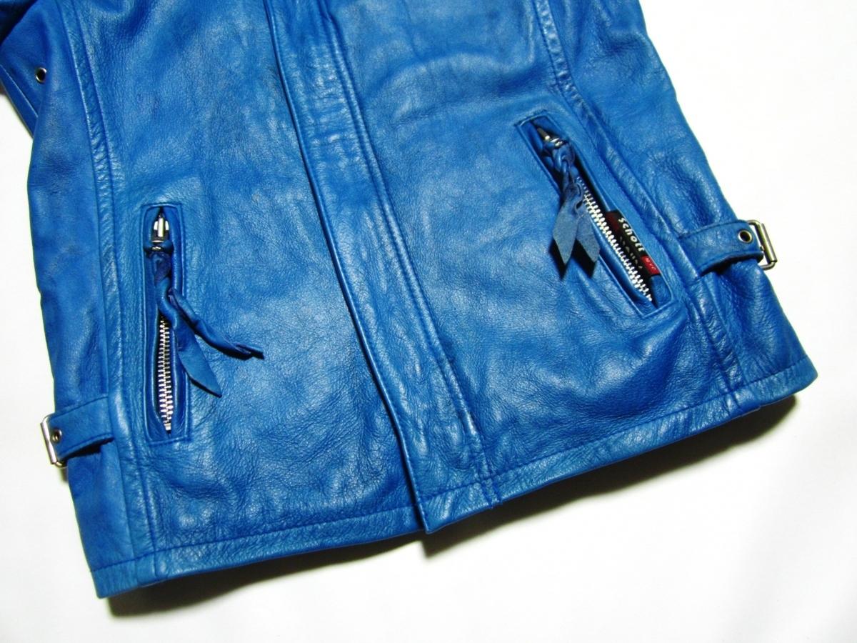 未使用品 Schott ショット クラシックレーサー ジャケット Johnny Special ジョニー スペシャル レザー ライダース XS ブルー 3161001_画像5