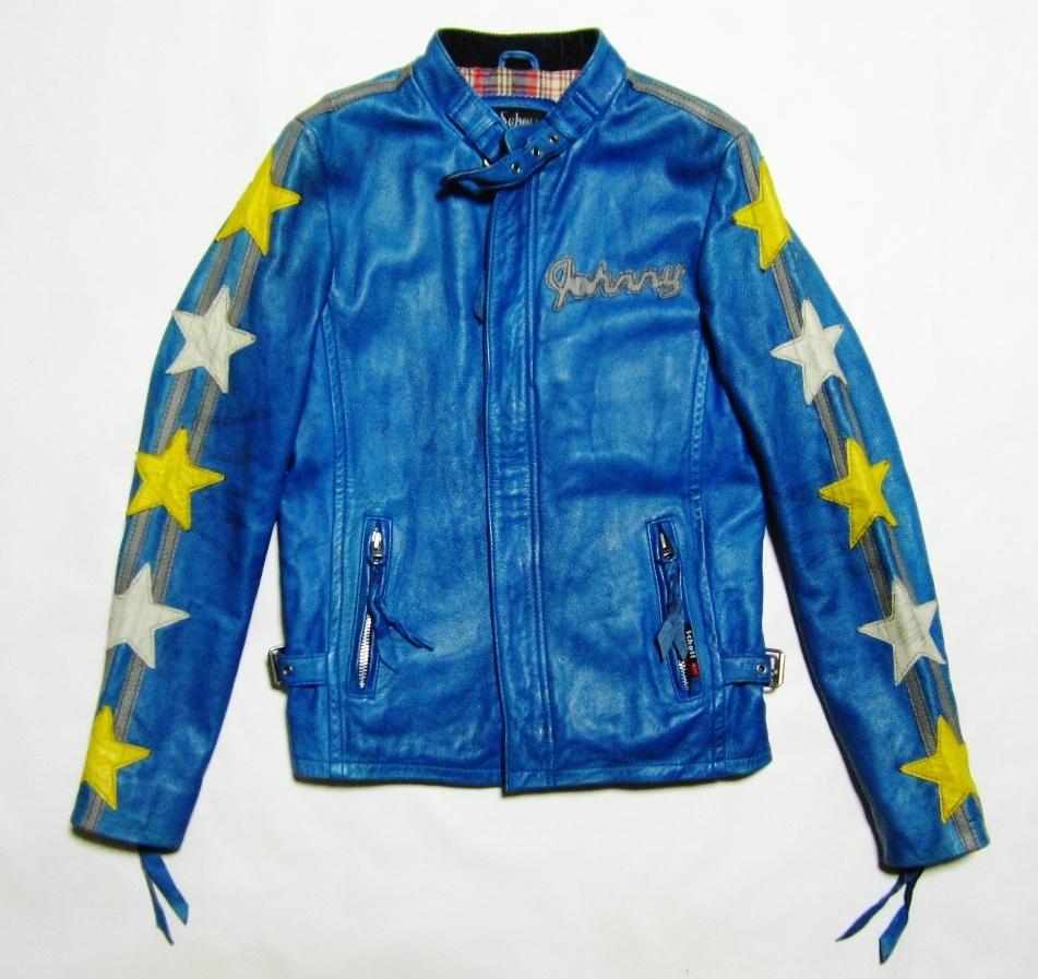 未使用品 Schott ショット クラシックレーサー ジャケット Johnny Special ジョニー スペシャル レザー ライダース XS ブルー 3161001_画像1
