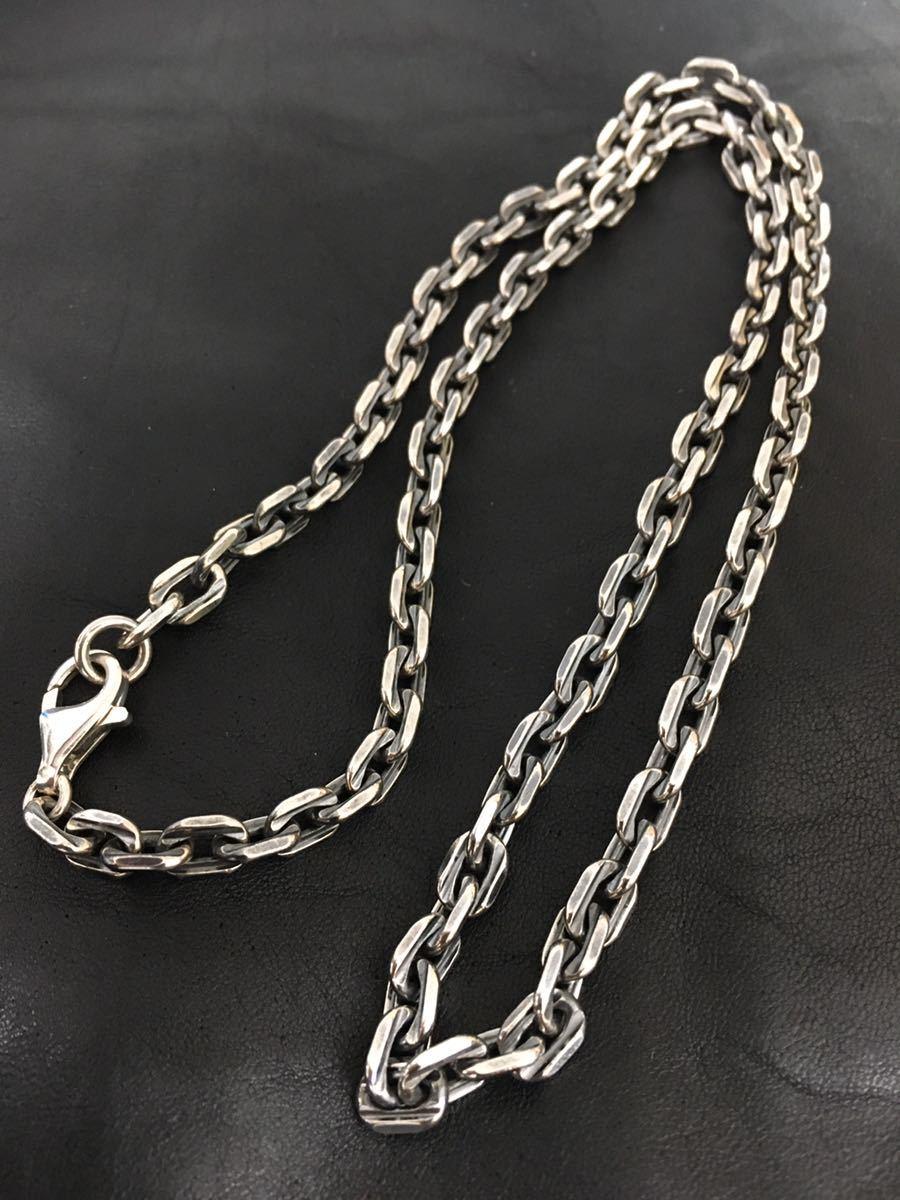 新品 シルバー925 太め 幅6ミリ 面カット アズキチェーン 純銀製 60cm / 53g シルバーチェーン ネックレス