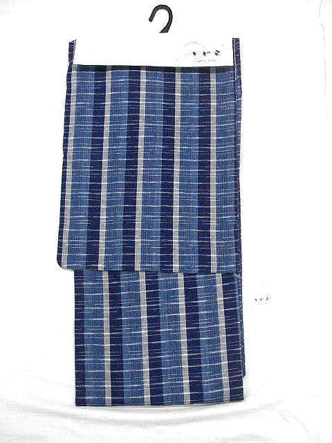 少し透ける 綿・麻シジラ織風 織の男ゆかた LLサイズ 紺色系縞柄 新品_画像2