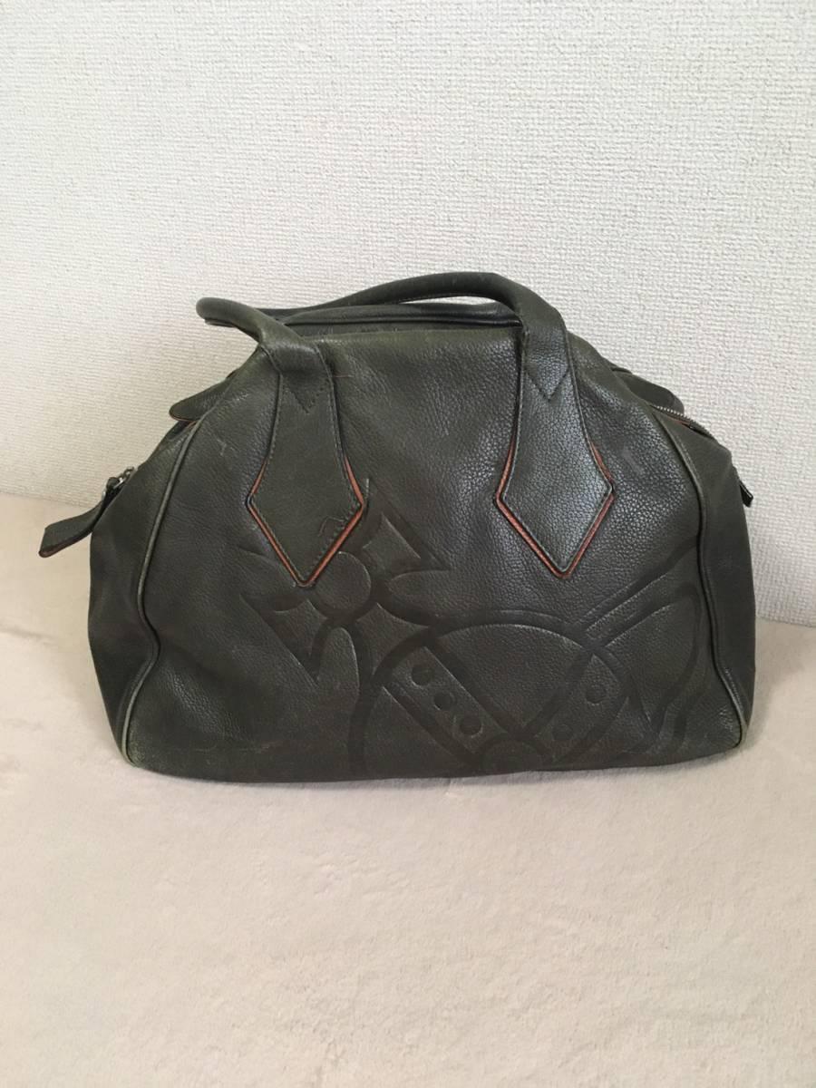 Vivienne Westwood ボストンバッグ ブラック オーブ 本革 牛革 ヴィヴィアンウエストウッド 黒 赤 レッド カバン 鞄 ビビアン