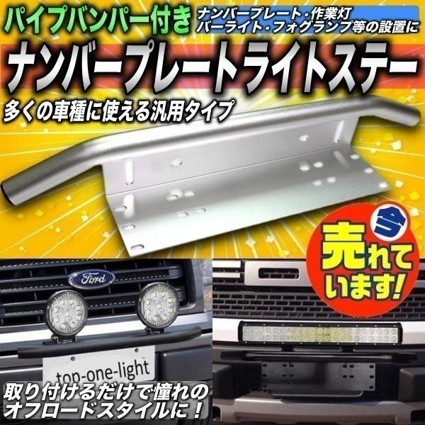 汎用 パイプバンパー付き ナンバープレート ライト ステー シルバー LEDライト ワークライト 作業灯 ジムニー JB64 JB23 ハスラー デリカ_画像1