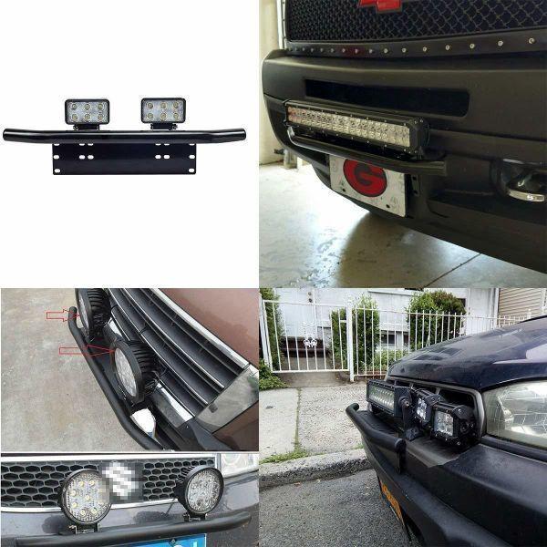 汎用 パイプバンパー付き ナンバープレート ライト ステー シルバー LEDライト ワークライト 作業灯 ジムニー JB64 JB23 ハスラー デリカ_画像8