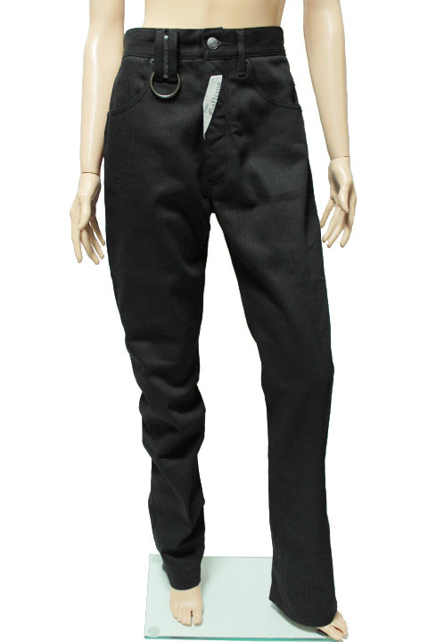 タグ付き 希少レア galliano ジョンガリアーノ  未使用 ブラック 黒 デニム パンツ ニュースペーパー 内側柄 メンズ 紳士_画像1