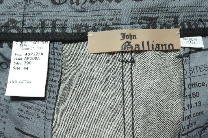 タグ付き 希少レア galliano ジョンガリアーノ  未使用 ブラック 黒 デニム パンツ ニュースペーパー 内側柄 メンズ 紳士_画像6