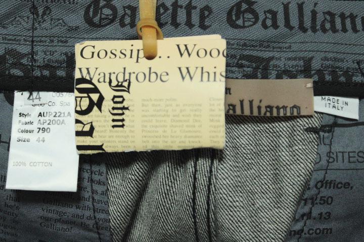 タグ付き 希少レア galliano ジョンガリアーノ  未使用 ブラック 黒 デニム パンツ ニュースペーパー 内側柄 メンズ 紳士_画像5