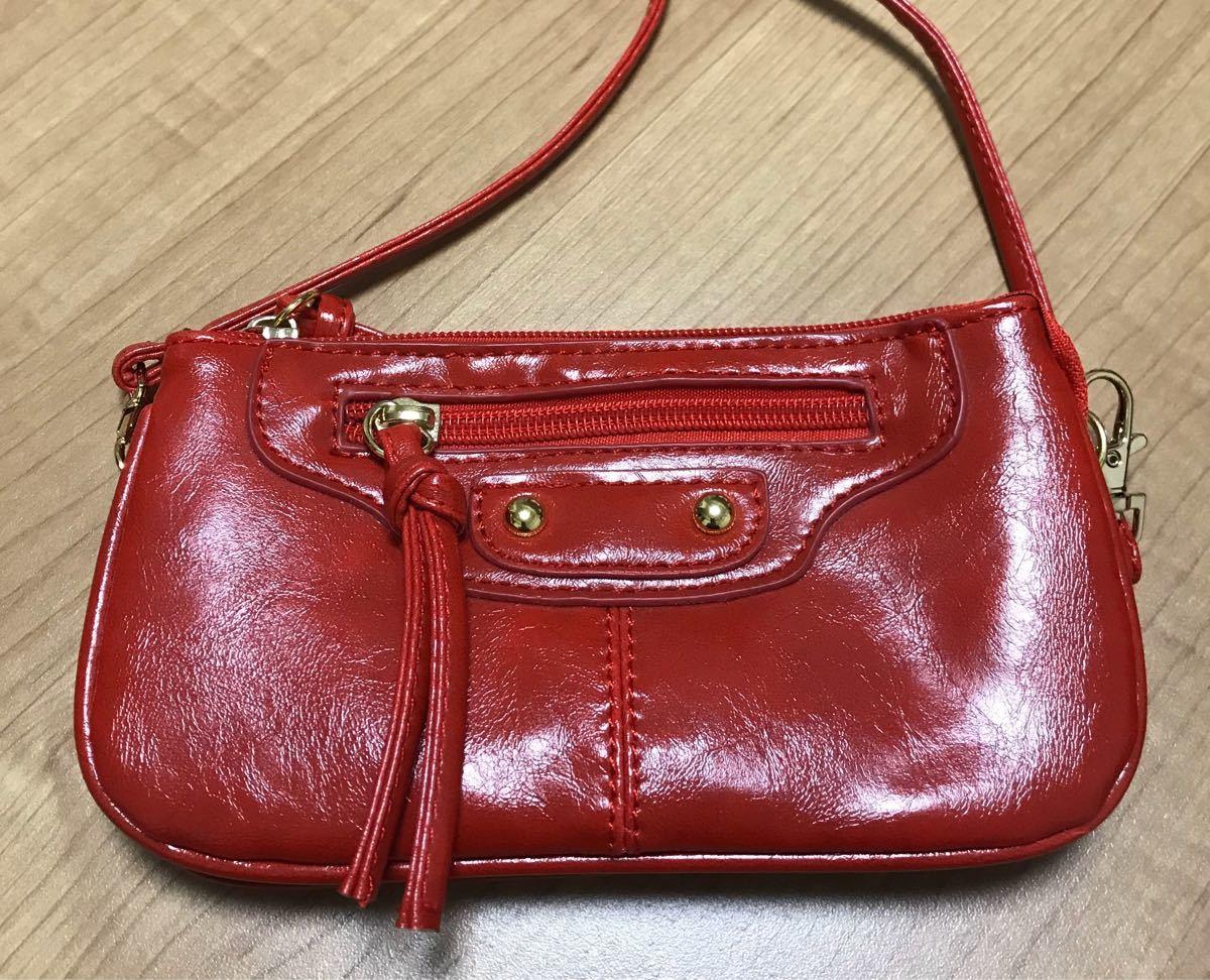 ポシェット ミニサイズ 赤 斜め掛け スマホケース 財布 ショルダーバッグ
