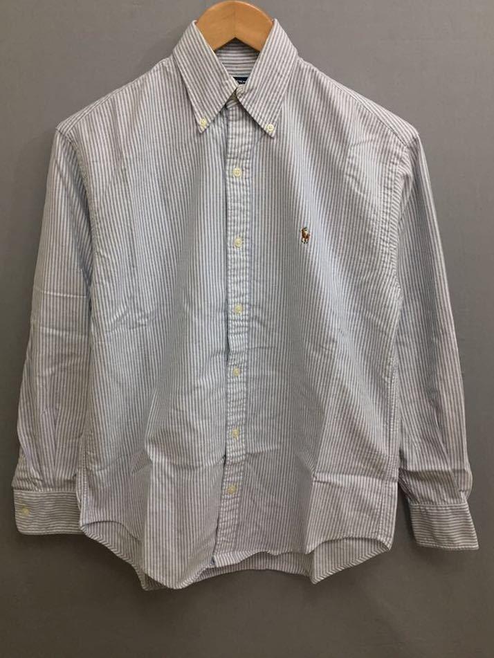 ラルフローレン RalphLauren スポーツ 長袖シャツ ボタンダウンシャツ ストライプ柄 メンズ 2サイズ !●&