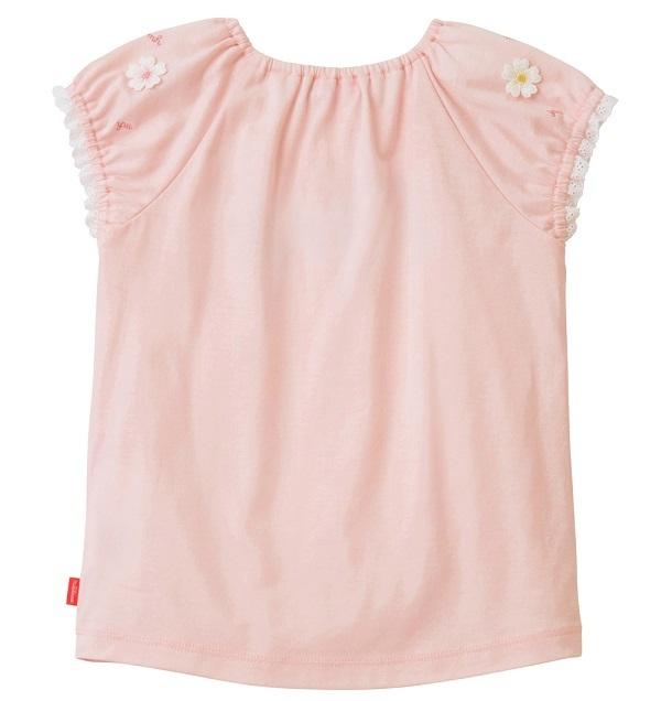 即決です!【ミキハウス】新品未使用 mikihouse 130cm 125cm~135cm 袖にあしらったお花のモチーフが可愛らしい半袖Tシャツ カラー:ピンク_画像2