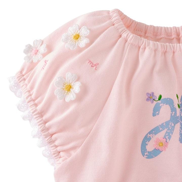 即決です!【ミキハウス】新品未使用 mikihouse 130cm 125cm~135cm 袖にあしらったお花のモチーフが可愛らしい半袖Tシャツ カラー:ピンク_画像4