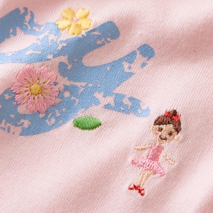 即決です!【ミキハウス】新品未使用 mikihouse 130cm 125cm~135cm 袖にあしらったお花のモチーフが可愛らしい半袖Tシャツ カラー:ピンク_画像3