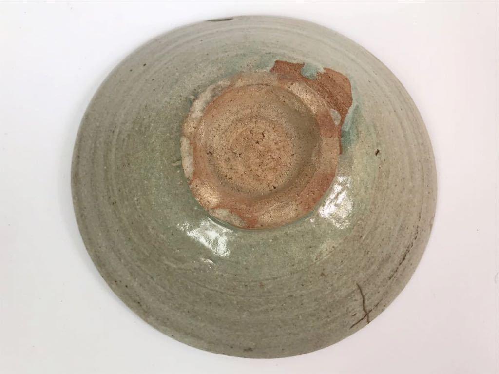 【在庫処分】李朝 灰釉平茶碗 鉢 李朝前期 16世紀 時代、本物保証 縁に金継ぎ直し、ひっつきがあります 箱なし_画像9