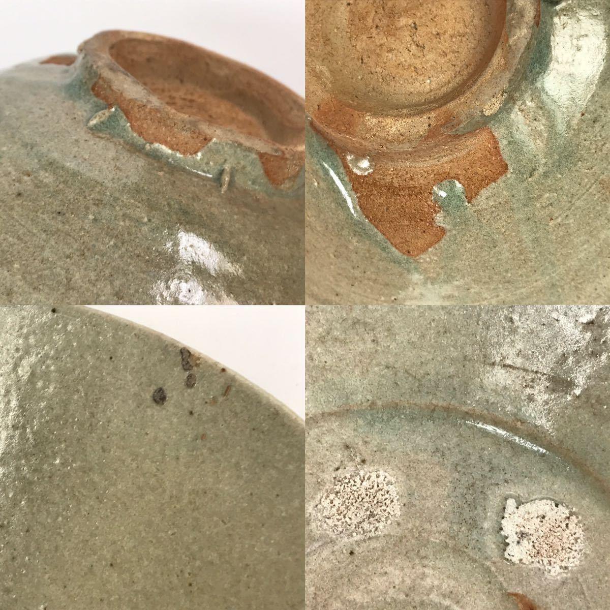 【在庫処分】李朝 灰釉平茶碗 鉢 李朝前期 16世紀 時代、本物保証 縁に金継ぎ直し、ひっつきがあります 箱なし_画像8