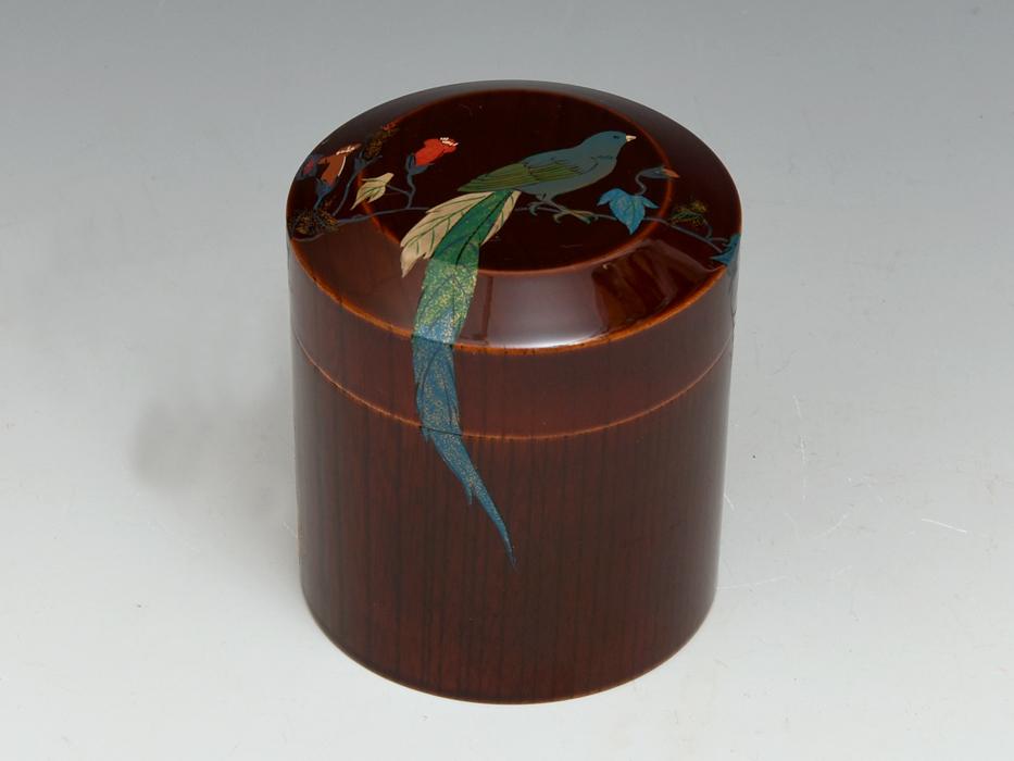 溜塗 花鳥図茶筒茶器 天然木木地 木工芸 漆工芸 漆芸 木製漆器 煎茶道具 美品 b7788e_画像1