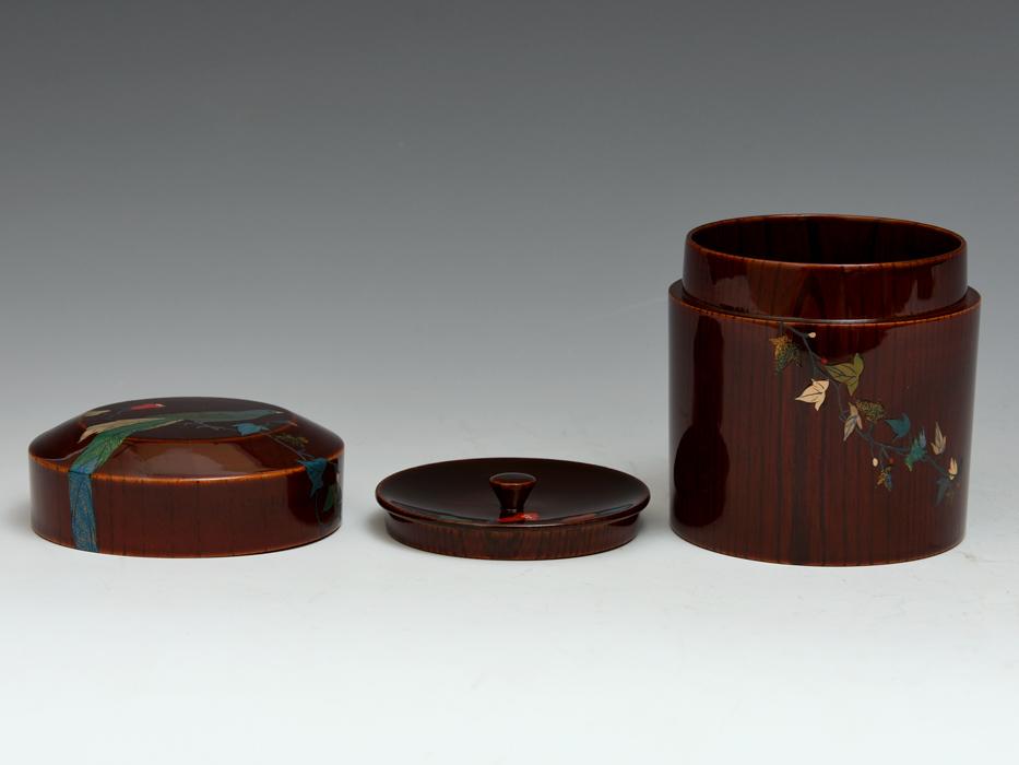 溜塗 花鳥図茶筒茶器 天然木木地 木工芸 漆工芸 漆芸 木製漆器 煎茶道具 美品 b7788e_画像9