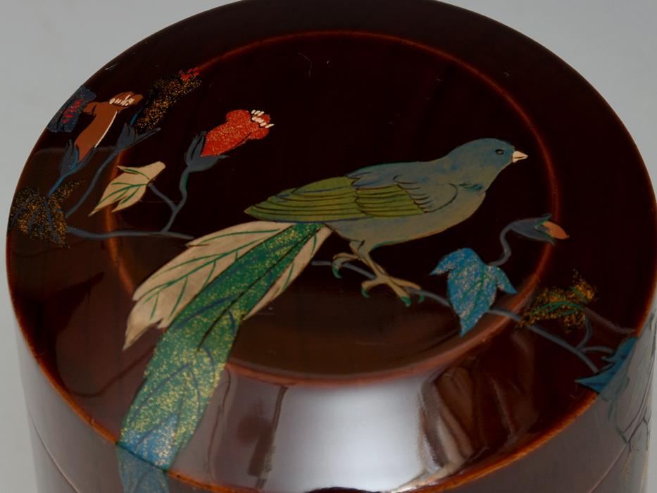 溜塗 花鳥図茶筒茶器 天然木木地 木工芸 漆工芸 漆芸 木製漆器 煎茶道具 美品 b7788e_画像4