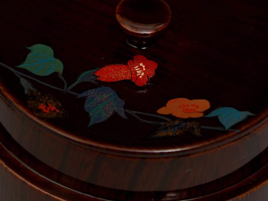 溜塗 花鳥図茶筒茶器 天然木木地 木工芸 漆工芸 漆芸 木製漆器 煎茶道具 美品 b7788e_画像5