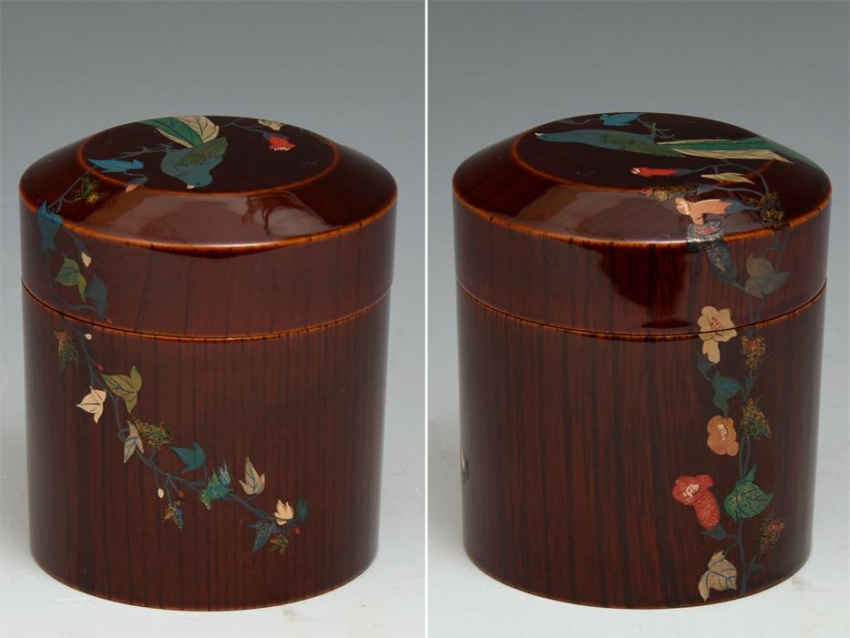 溜塗 花鳥図茶筒茶器 天然木木地 木工芸 漆工芸 漆芸 木製漆器 煎茶道具 美品 b7788e_画像2
