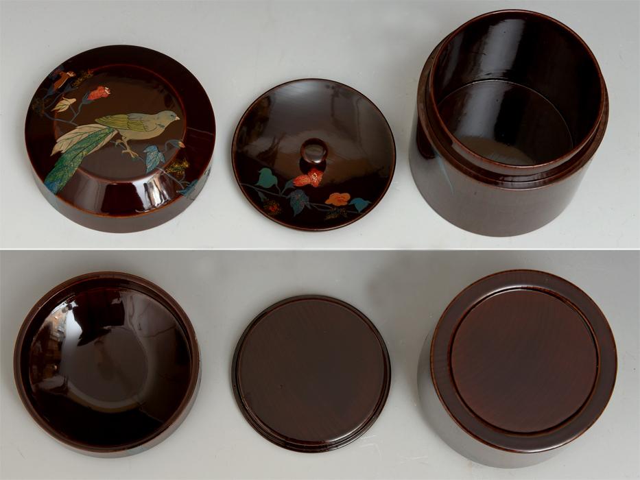 溜塗 花鳥図茶筒茶器 天然木木地 木工芸 漆工芸 漆芸 木製漆器 煎茶道具 美品 b7788e_画像8