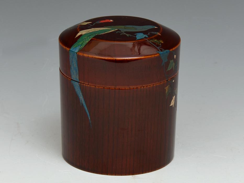 溜塗 花鳥図茶筒茶器 天然木木地 木工芸 漆工芸 漆芸 木製漆器 煎茶道具 美品 b7788e_画像3