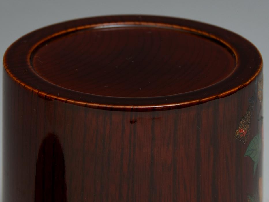 溜塗 花鳥図茶筒茶器 天然木木地 木工芸 漆工芸 漆芸 木製漆器 煎茶道具 美品 b7788e_画像10