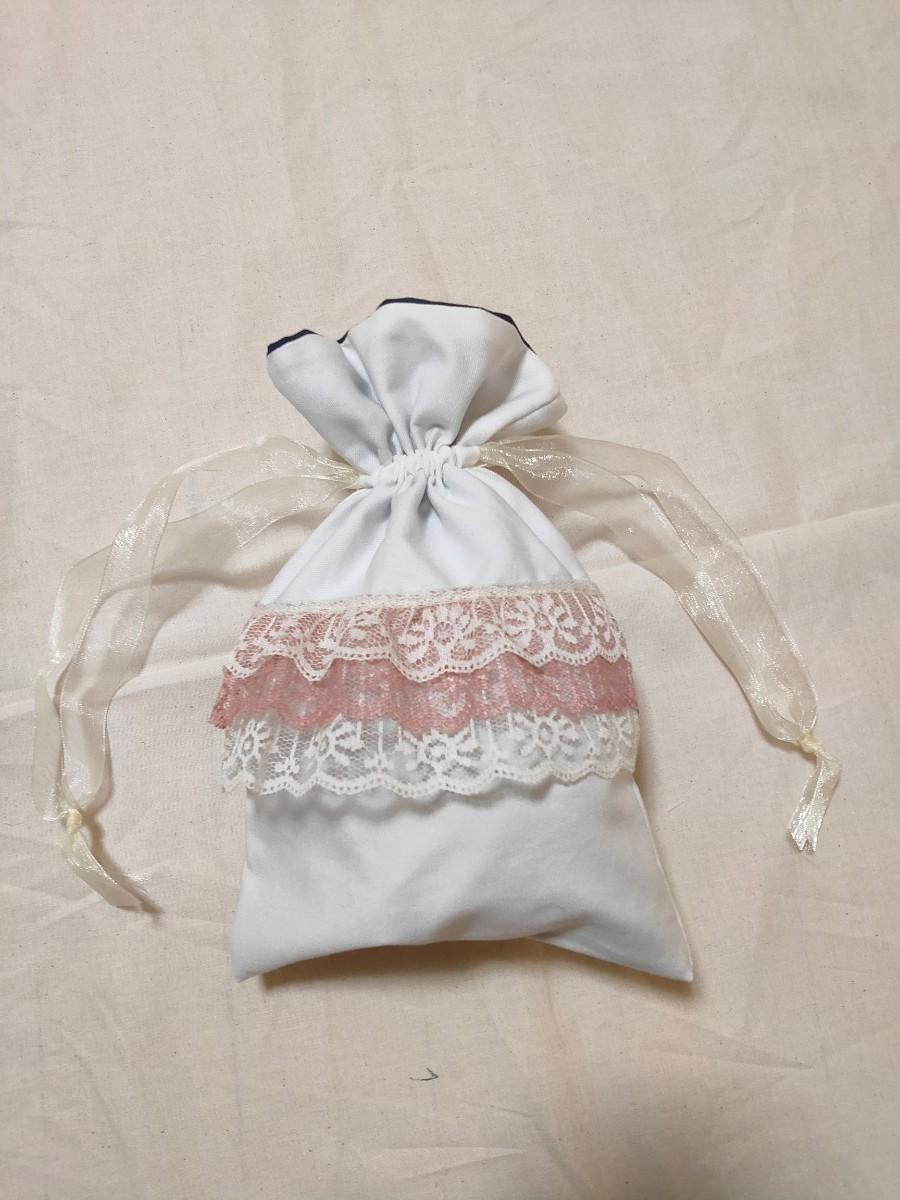 かわいいレースのフリル巾着 巾着ポーチ 巾着バッグ