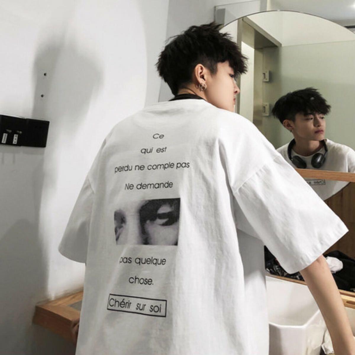【ホワイト/2XL】オーバーサイズ 男女兼用 ストリート ルーズ 半袖 Tシャツ