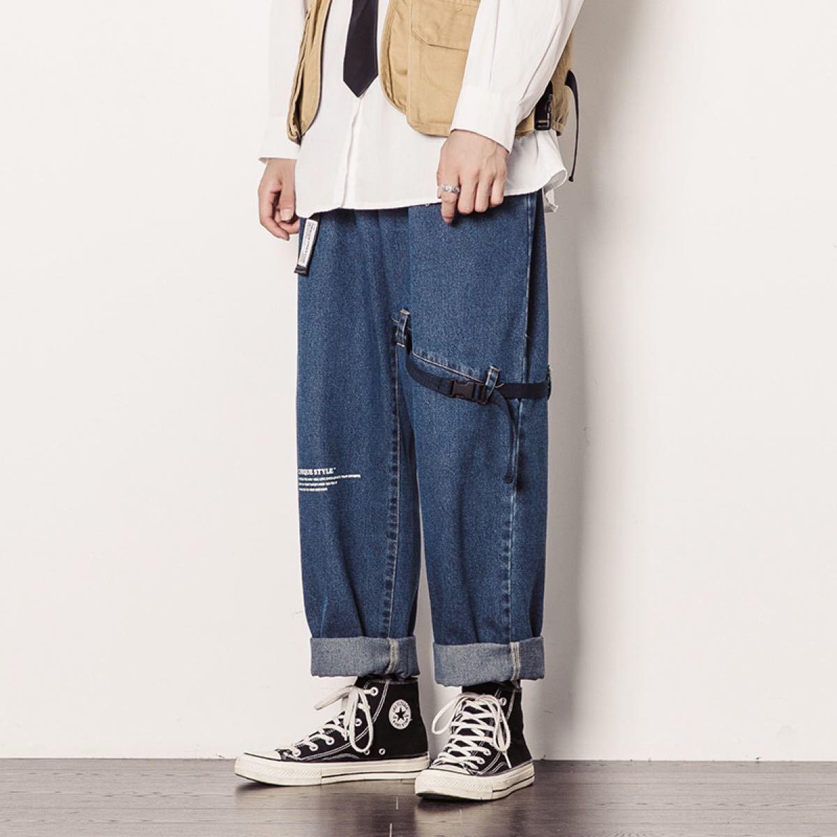 デニム ワイドパンツ ジーンズ ボトムス ストレートパンツ 9分丈 メンズ