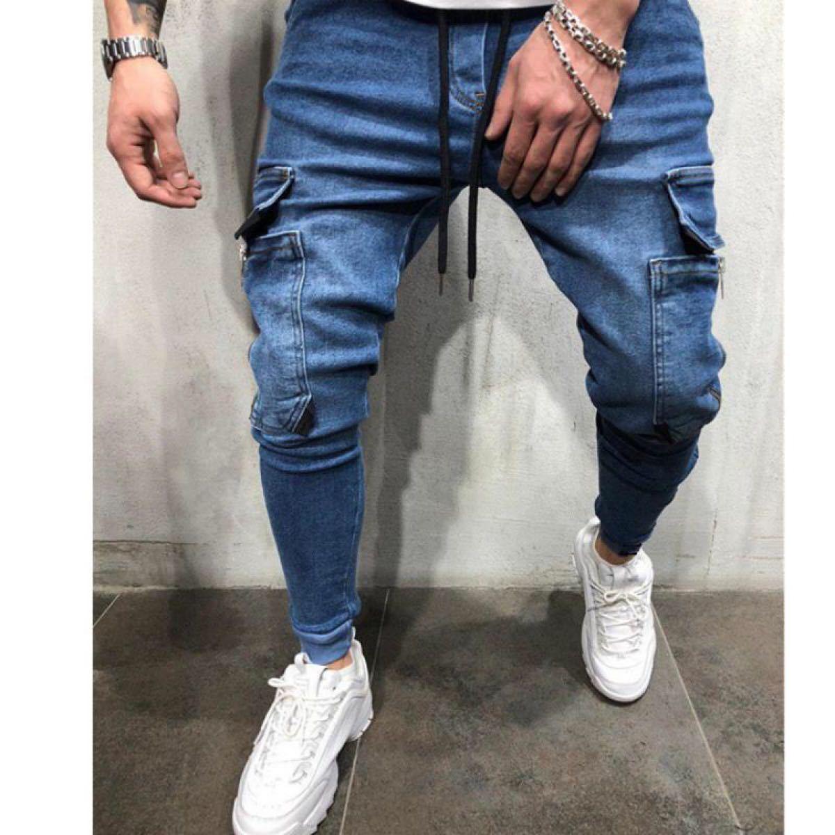 ジョガーパンツ ポケット付き デニム テーパードパンツ ボトムス 色選べます