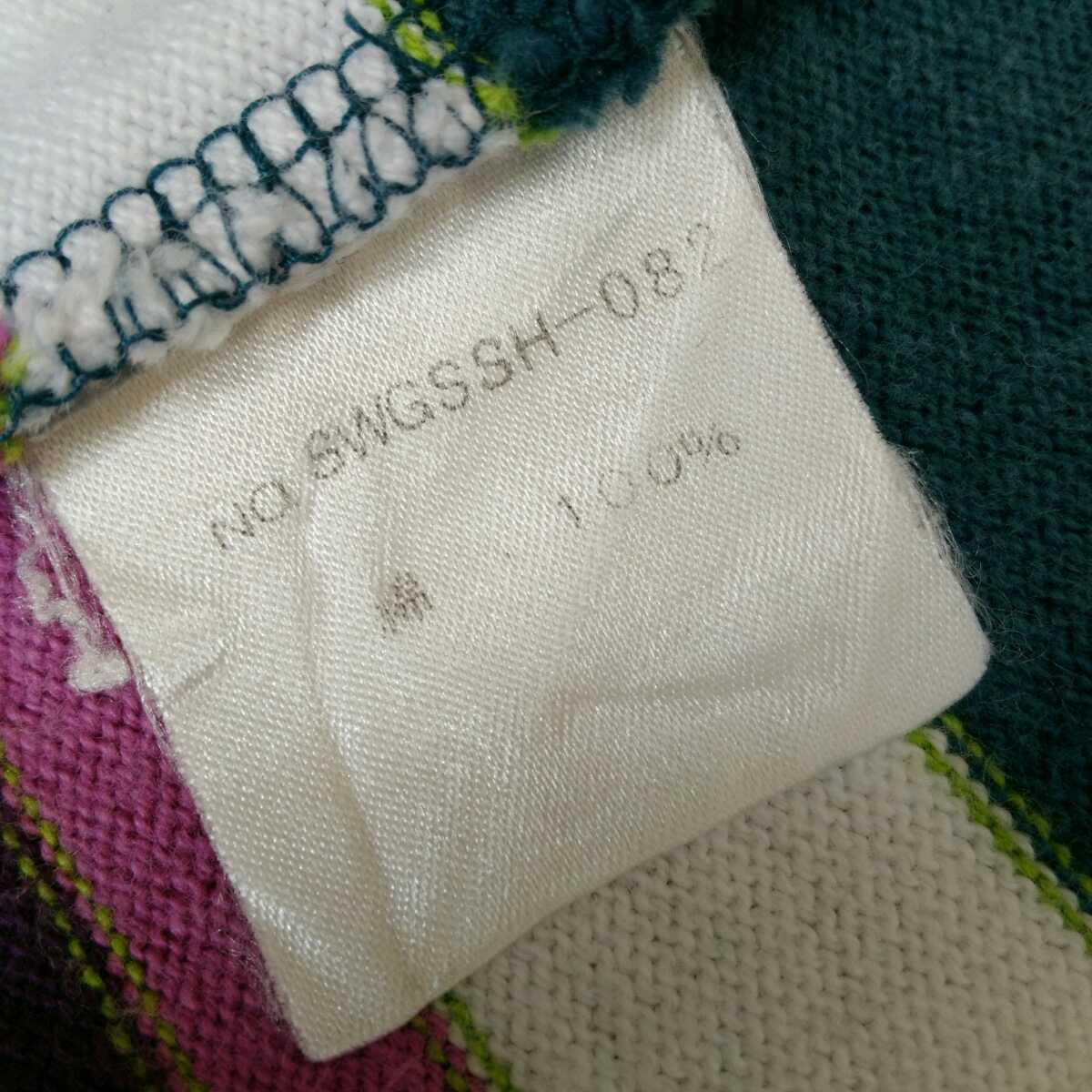 スワッガー SWAGGER 日本製 メンズM マルチカラー ボーダー柄 半袖 ポロシャツ ラガーシャツ 古着女子 フルジョ レディース カジュアル/D18