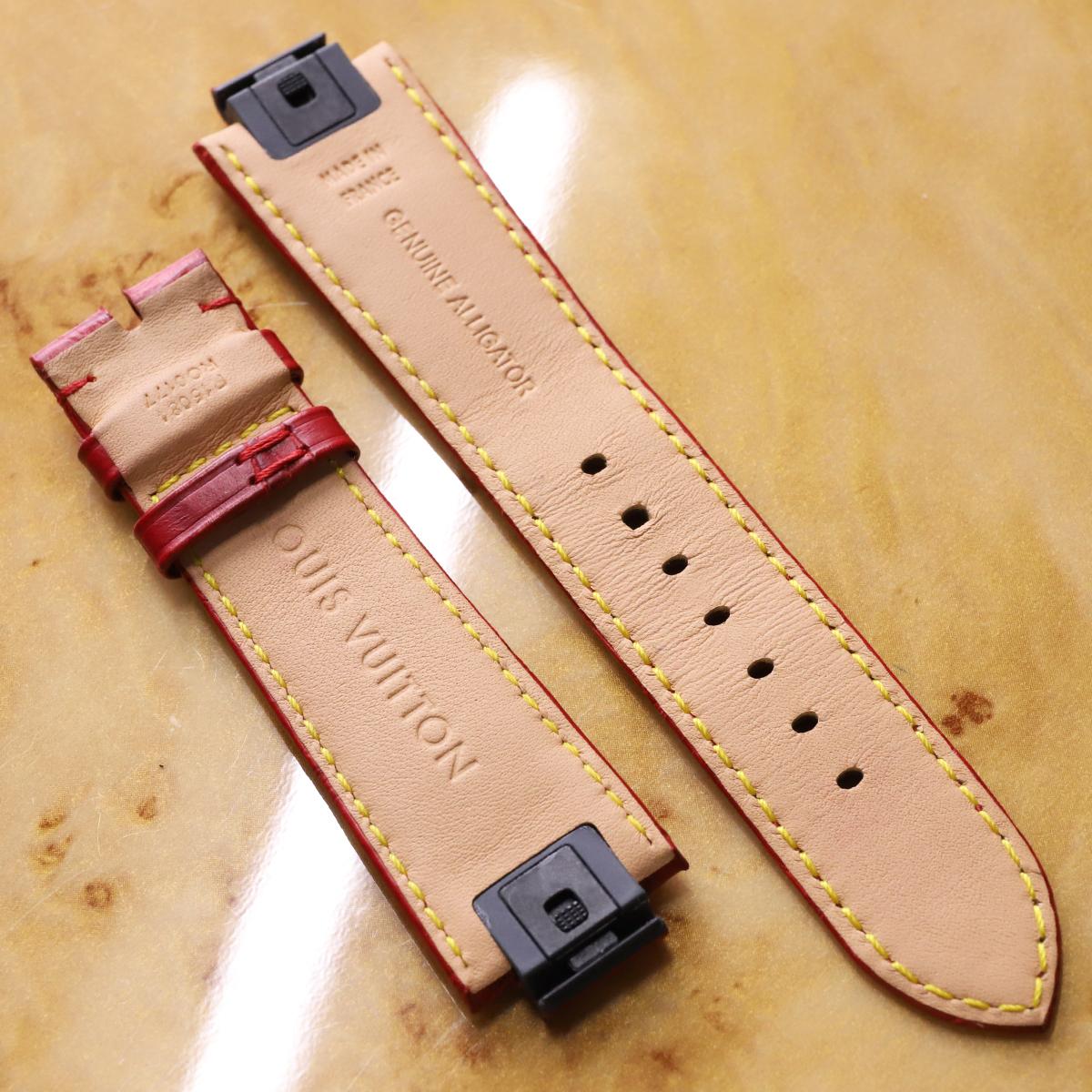 本物 ルイヴィトン 新型ワンタッチ リムーバブル メンズ タンブール対応 21mm幅 マットクロコダイルレザー ウォッチベルト 腕時計バンド_画像2