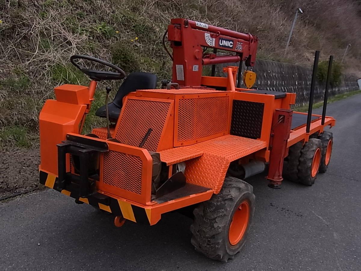「リョウシン号 林業 運搬車 6輪駆動 クレーン ユニック ウインチ ディーゼル 集材車 木出し 山 木材 及川自動車」の画像1
